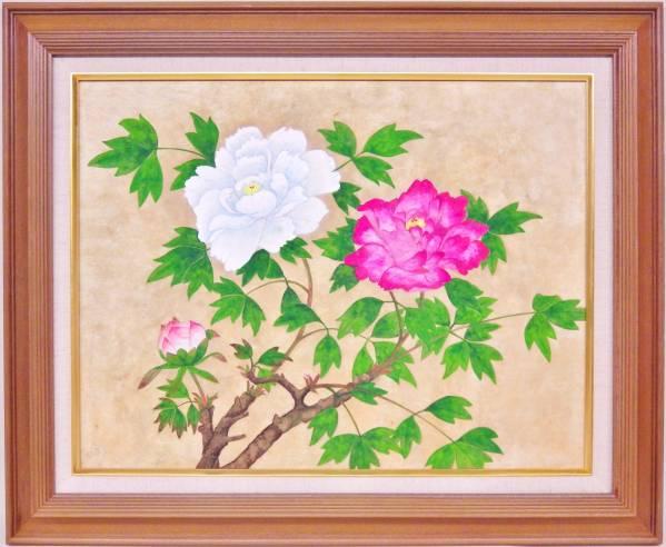 ★送料無料★ 廣瀬博 「紅白牡丹」 日本画 P10号大 肉筆 花