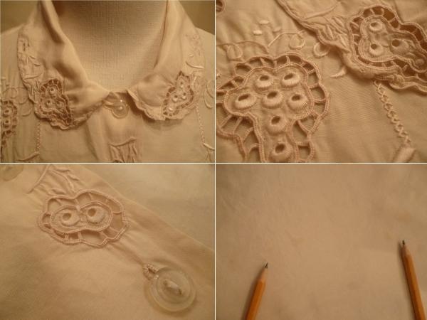 フランスヴィンテージ50'sシルクブラウス刺繍アンティーク30'sスワトウクラシックΓLT_画像3