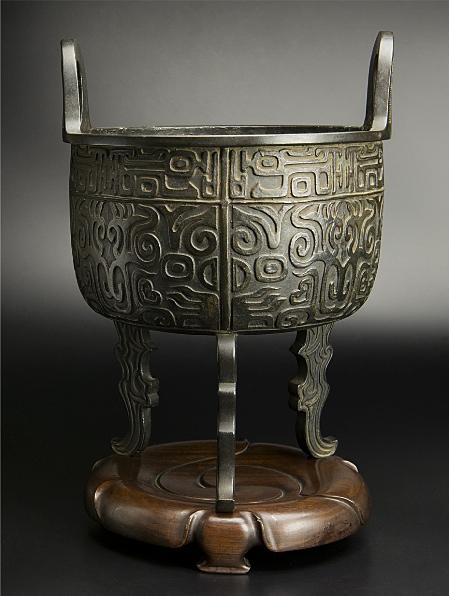 清 銅饕餮紋大炉 大明宣徳年制款 中国 古美術_画像1