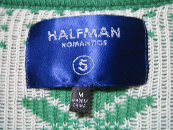 新品 HALFMAN ハーフマン ノルディックカーディガン グリーン_画像3