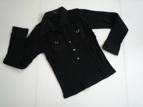 【良品!】 ● crescendo ● シャツ風カットソー 黒 長袖 L