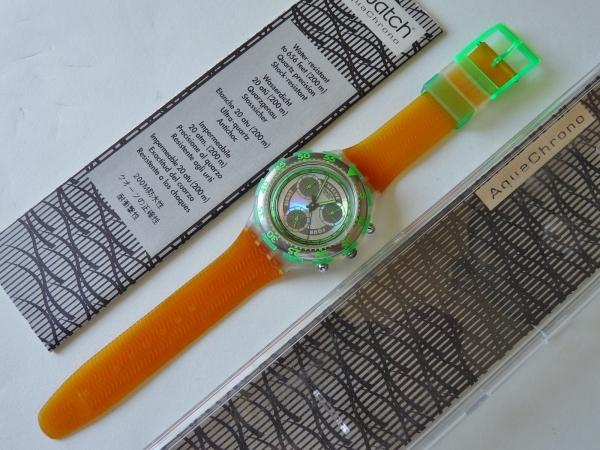 未使用 スウォッチ Swatch 94年アクアクロノ 緑/橙 電池交換済_ケース、説明書も付属します