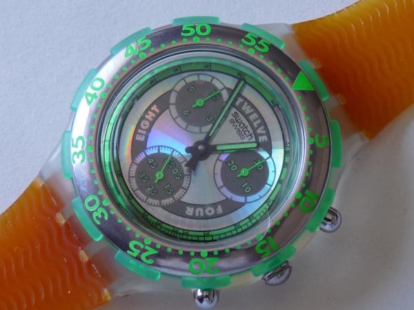 未使用 スウォッチ Swatch 94年アクアクロノ 緑/橙 電池交換済_電池交換済、クロノ稼働問題ありません