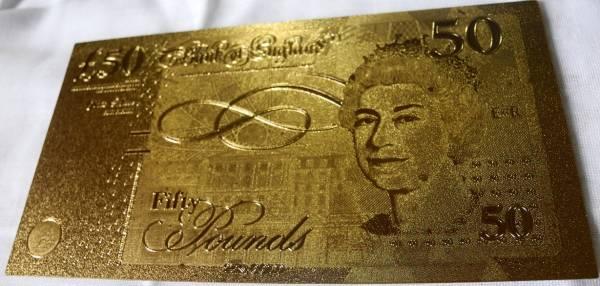 純金の50ポンド札 イギリス 24金箔 金運UP 幸運ゾロ目 ユーロ_画像2