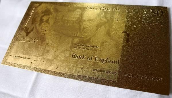 純金の50ポンド札 イギリス 24金箔 金運UP 幸運ゾロ目 ユーロ_画像3
