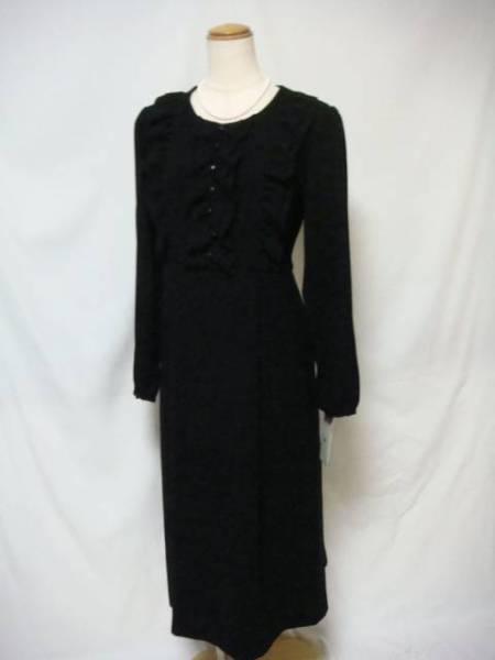F37新品♪上品フリル使いブラックフォーマルワンピース3L日本製大きいサイズ礼服即決_画像3