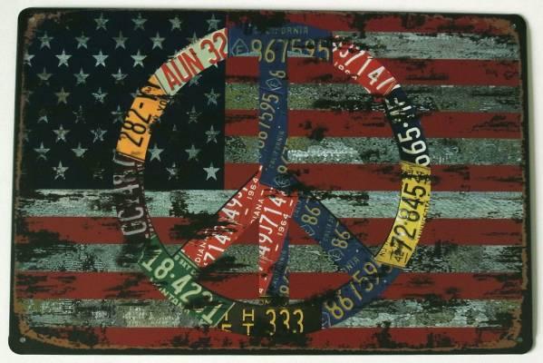 ★送料無料★【ブリキ看板】ピースマーク★PEACE★アメリカ/USA/米国★星条旗★ティンサイン★アメリカン雑貨/B-008_画像1