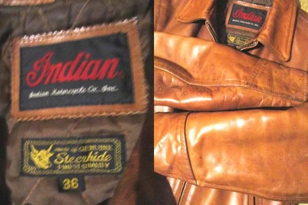 インディアン モトサイクル レザー 本革 ライダースジャケット 茶系 ブラウン 牛革 サイズ36 バイカーはツーリングにいかが?_袖に革特有のシミ有り