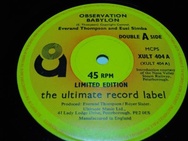 12inch オリジナル Everand thompson [observation babylon] EX- org roots ルーツ reggae レゲエ jamaica ジャマイカ トンプソン UK poet_画像3