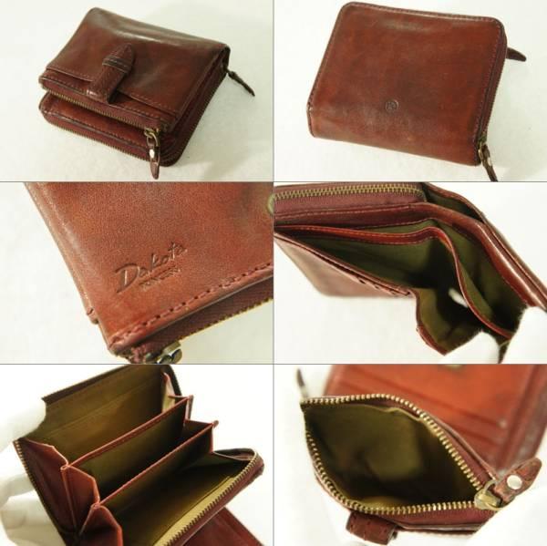 【美品】 ¥12,960 Dakota ダコタ 天然オイル イタリア製牛革 クラプトンシリーズ 二つ折り財布 ワインブラウン_内部、目立つ汚れなくきれいな状態です。