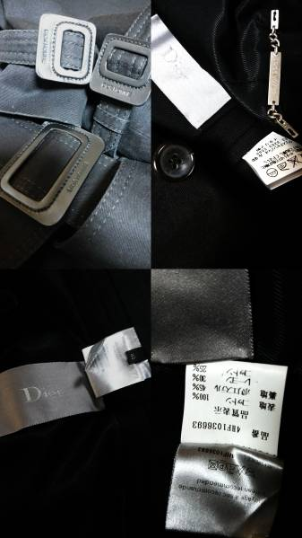 国内正規 良品 レア Dior Homme ディオールオム トレンチコート黒 40 XSS 男女兼用可能サイズ 最長着丈ロングコート エディ期 04AW メンズ_各タグ、ベルト、ボタン欠品無!国内正規40P