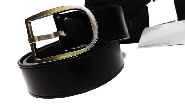 正規新古レア Dior Hommeディオールオム ラウンドDバックルベルト黒×シルバー 最小75 26 38 デニム~スーツ〇 入荷数自体極僅か!入手困難_ディオールオム ラウンドDバックルベルト黒