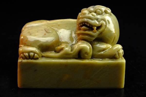 ◆◆森◆◆石印材 収蔵品細工招財怪獣彫り四角印材壽山石 Y24