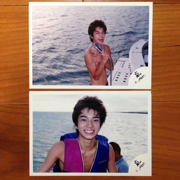 即決¥3000★嵐 公式写真 1458★松本潤 ハワイ 初期 嵐ロゴ 2枚セット