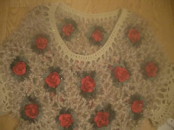 即決☆ お花 薔薇 編込み 裾 フリル ガーリー ニット ♪ プルオーバー ベージュ 系 ♪ お花 ♪バラ♪ フラワー ♪_画像3