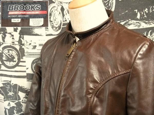 ☆コンディション◎な1着☆Made in USA製アメリカ製BROOKSブルックスビンテージシングルライダースレザージャケット黒タグOLDタグ60s70s_画像1