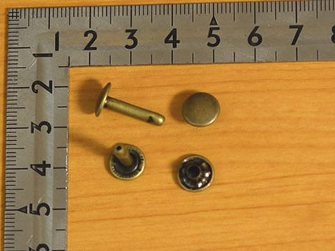 カシメ大両面超々足長 アンティーク 頭9mm 足16.5mm 100個セット_画像1