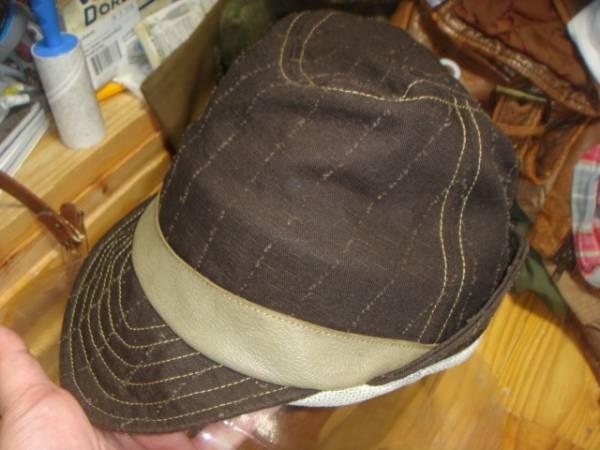 1605カシラCA4LA帆布キャンバス皮革レザー切替 折り返しWORKワークキャップCAP/HATハット帽子L_画像1