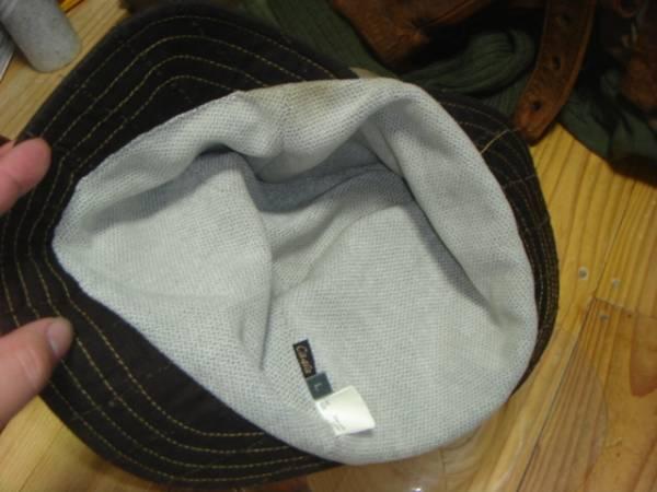 1605カシラCA4LA帆布キャンバス皮革レザー切替 折り返しWORKワークキャップCAP/HATハット帽子L_画像8