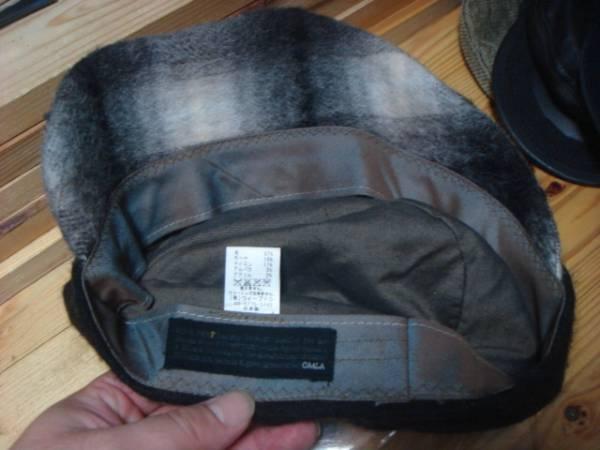 1609カシラCA4LAウールWOOLモヘア ツバ チェック切替ワークキャップCAP帽子モヘヤ ドゴール_画像3