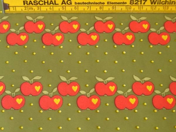 値下げ!スイス製 ヴィンテージ&レトロ ワックスペーパー 包装紙 リンゴプリント (グラジエラ風、Graziela )_スイス製のヴィンテージワックスペーパー