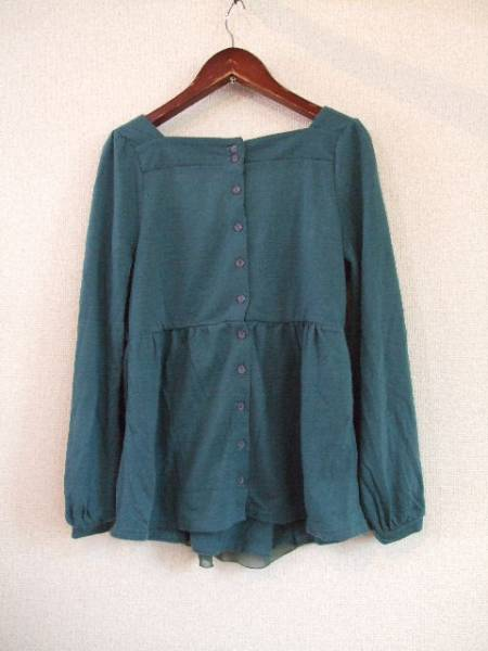 naturalcoutureグリーンシフォンレース付トップス(USED)92612_画像3