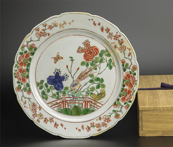 清 五彩花鳥紋盤 附木箱 中国 古美術_画像1
