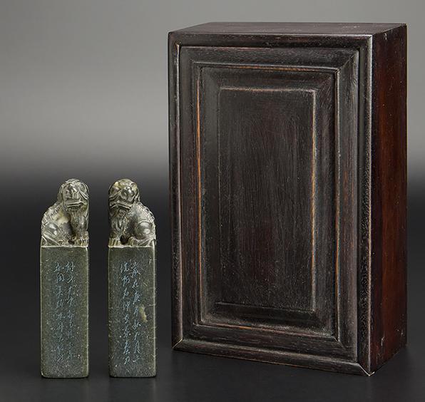 清 壽山石雕獅鈕方章 共箱 中國 古美術