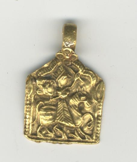 インド 金のお守り ペンダント ドゥルガ 17世紀 K22製 チャーム