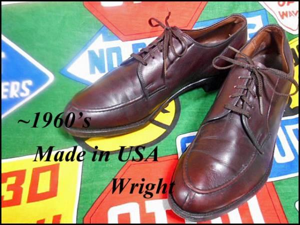★美品なコンディション★Made in USA製アメリカ製WrightライトビンテージYチップレザーシューズドレスシューズ革靴短靴50年代60年代50s60s_《 ~1960s Wright 》
