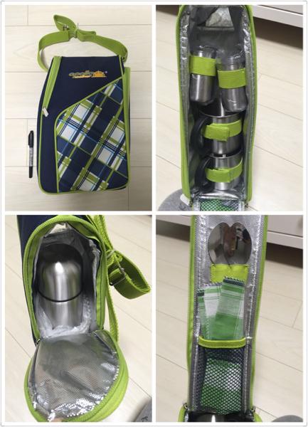 Appolo アウトドア ピクニックセット 餐具 アポロ 水筒 魔法瓶 カップ スプーン 布巾 コップ カトラリー 緑_画像1