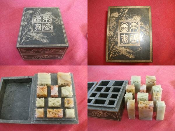 AKa4376◆隼◆中国 印材 石箱付 古玩旧家蔵出骨董初だし_画像1
