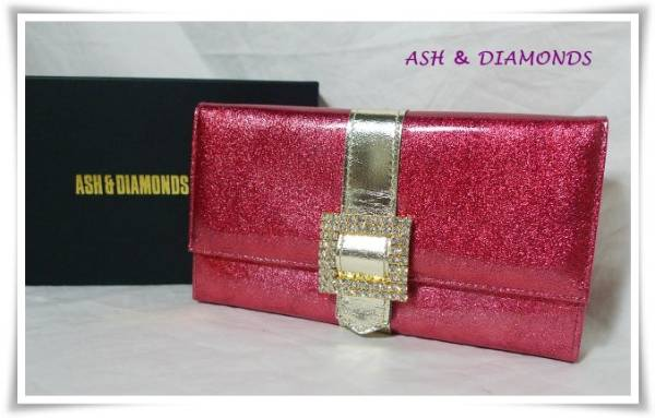 【Ash & Diamonds】長財布 エナメル・赤・ラメ・ビジュウ新品●