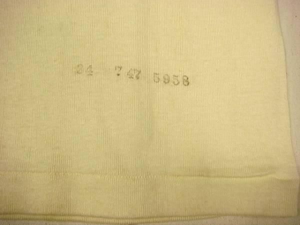 ビンテージ HANES ヘインズ 希少 40S~50S Cネック 白 生成り 無地 Tシャツ デッドストック レア バインダー ネック サイズ 34 肌着 新品_画像3