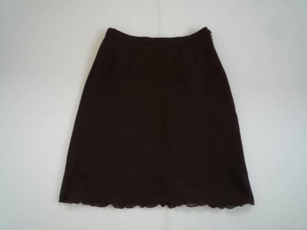 【良品!】 ● ah ● 台形スカート 茶 膝丈 64-91