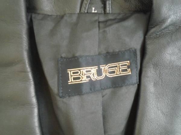 値下げ!【お買い得!!】 ◆ BRUGE ◆ 長袖ジャケット 黒色 牛革 L_画像3