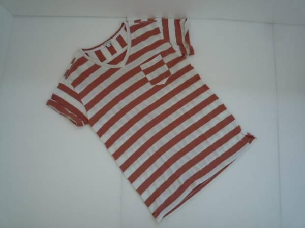 【良品!】 ◆ TOPTEN ◆ ボーダー柄Tシャツ ピンクベージュ系 90