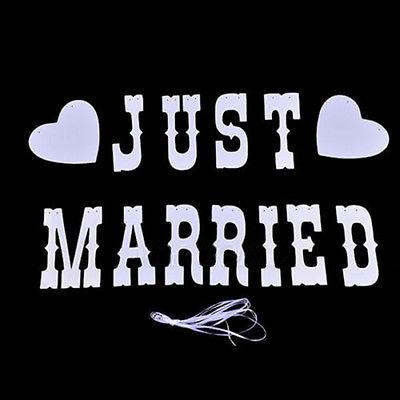 ☆ウェディングガーランド☆ フォトウェディング 結婚式 前撮り 二次会 ウェルカムボード 飾り モビール JUST MARRIED_ナイロンロープ付属