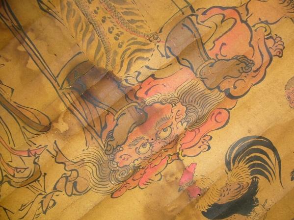 津軽庚申信仰資料~仏教美術肉筆古画仏画掛軸邪鬼を踏む不動明王_画像3