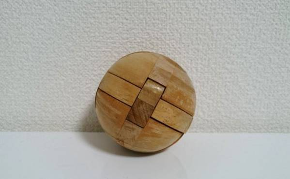 美品☆木製 知恵の輪 ボール型 立体パズル 組み木 お洒落なインテリアに_画像1