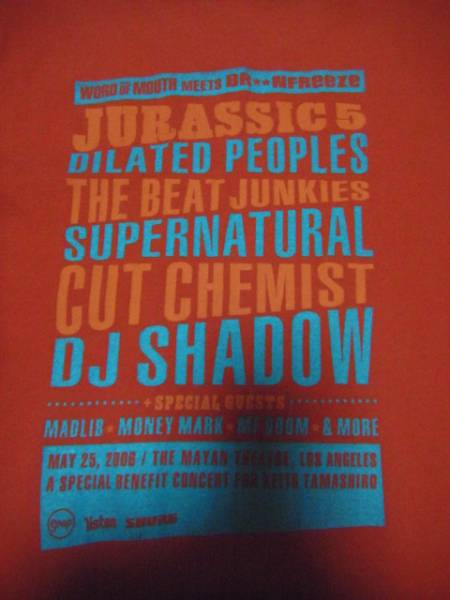 JURASSIC 5,DJ SHADOW,2006 WORD OF MOUTH MEETティーシャツ