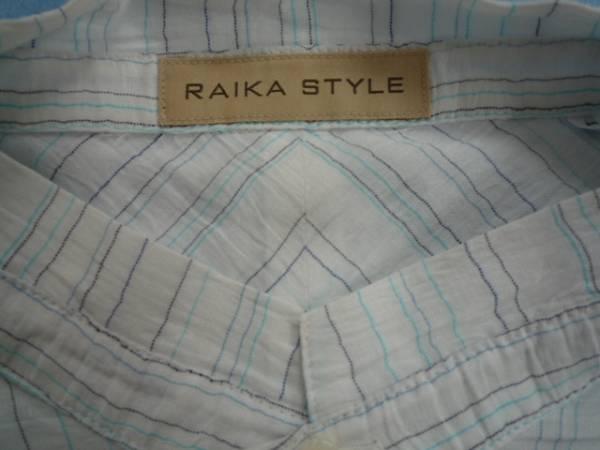 【お得!!】 ◆ RAIKA STYLE ◆ 半袖シャツ 白 ストライプ 46_画像3