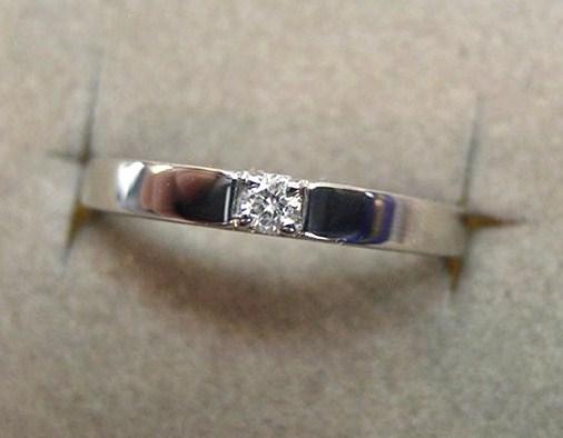 細め!マリッジ:結婚指輪【Pt900・ダイヤ0.05c】2.8g税送込