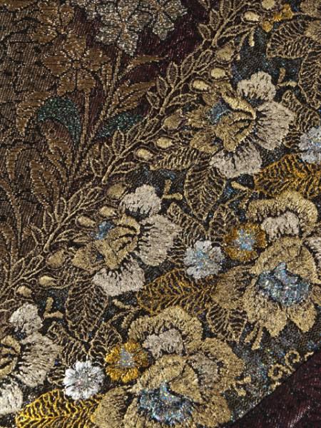 ぼかし縞に草花文 西陣織 袋帯 TAFJ02004風楽_画像3
