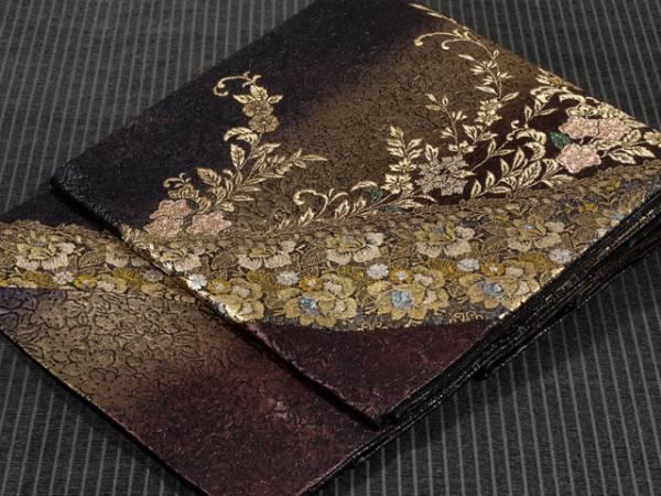 ぼかし縞に草花文 西陣織 袋帯 TAFJ02004風楽