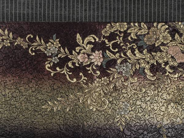 ぼかし縞に草花文 西陣織 袋帯 TAFJ02004風楽_画像2