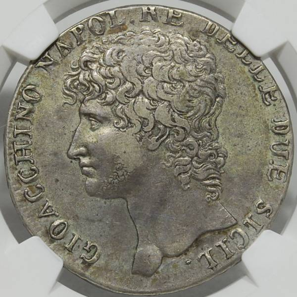 イタリア 1810 ナポリ&シシリー 12CAR 銀貨 NGC鑑定 XF40 ジョアシャン・ミュラ=ジョルディ