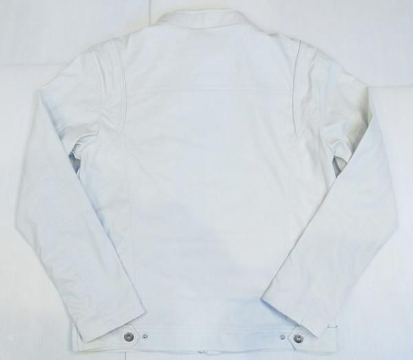 AD46)VICTORIOUSフェイクレザーライダースジャケット 白B系_画像2