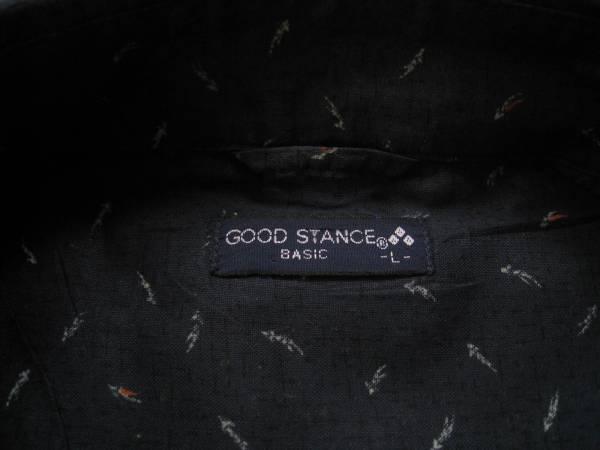 【美品!】 ◆ GOOD STANCE ◆ 総柄プリントシャツ NV L_画像3