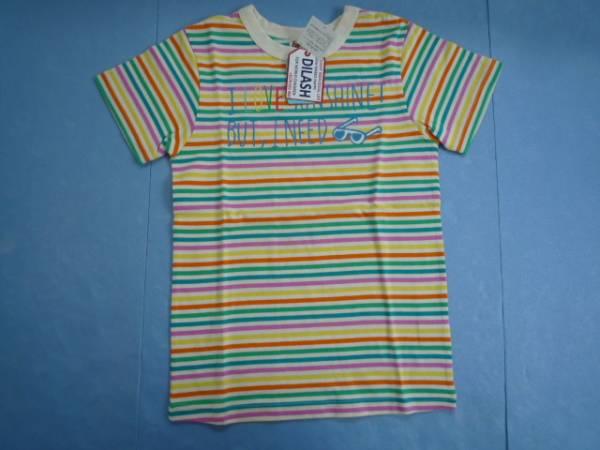【新品・半額!!】■DLASH■ 半袖Tシャツ 140 ピンク系 ボーダー